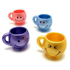 smiley face mini mugs